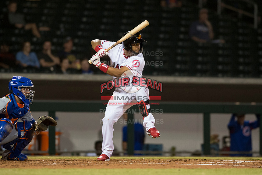 Mesa Solar Sox third baseman Roberto Baldoquin (24), of the Los Angeles Angels organization, at bat in front of catcher Ali Sanchez (25) during an Arizona Fall League game against the Scottsdale Scorpions at Sloan Park on October 10, 2018 in Mesa, Arizona. Scottsdale defeated Mesa 10-3. (Zachary Lucy/Four Seam Images)