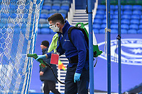 The goal nets get sanitised prior to kick off during Portsmouth vs MK Dons, Sky Bet EFL League 1 Football at Fratton Park on 10th October 2020