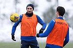 St Johnstone Training…. 15.01.21<br />Chris Kane and Scott Tanser pictured during training at McDiarmid Park ahead of tomorrows game against St Mirren<br />Picture by Graeme Hart.<br />Copyright Perthshire Picture Agency<br />Tel: 01738 623350  Mobile: 07990 594431