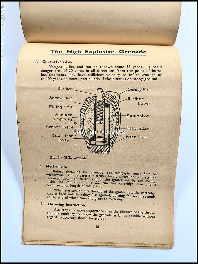 BNPS.co.uk (01202 558833)Pic: Bosleys/BNPS<br /> <br /> Home guard bomb making manual disguised as a caldender. Estimate £400-600.<br /> <br /> A secret guide on how to build a bomb that was disguised as a calendar to be used by members of 'Dad's Army' in the war has come to light.The clandestine manual was for the Home Guard acting as a last line of defence in the event of a German invasion of Britain.To the unassuming, it would have looked like a normal calendar hung up in a home or office but actually contained instructions into the art of sabotage.The rare manual is one of numerous items used by SOE agents and the like during the Second World War to emerge for sale.