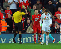 Saturday 10 November 2012<br /> Pictured: Adam Lallana of Southampton sees a yellow card by referee A Marriner (L) for diving. <br /> Re: Barclay's Premier League, Southampton FC v Swansea City FC at St Mary's Stadium, Southampton, UK.