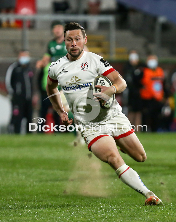 Friday 23rd April 2021; John Cooney on the attack for Ulster during the first round of the Guinness PRO14 Rainbow Cup between Ulster Rugby and Connacht Rugby at Kingspan Stadium, Ravenhill Park, Belfast, Northern Ireland. Photo by John Dickson/Dicksondigital