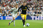 Lucas Hernandez of Atletico de Madrid holds off pressure from  Cristiano Ronaldo of Real Madrid  during the match of Champions League between Real Madrid and Atletico de Madrid at Santiago Bernabeu Stadium  in Madrid, Spain. May 02, 2017. (ALTERPHOTOS/Rodrigo Jimenez)