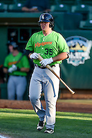 Corey Zangari (35) of the Great Falls Voyagers comes up to bat against the Ogden Raptors in Pioneer League action at Lindquist Field on August 16, 2016 in Ogden, Utah. Ogden defeated Great Falls 2-1. (Stephen Smith/Four Seam Images)