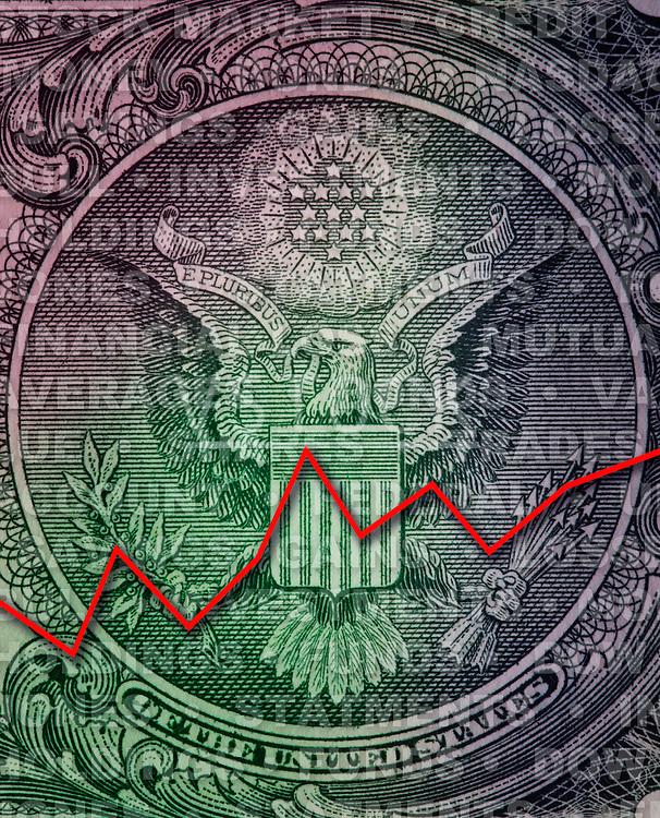 USA, Illinois, Metamora, Close-up of financial graph on money