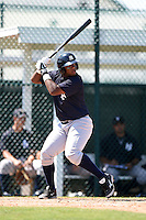 Outfielder Alexander Palma (17) of the New York Yankees organization during a minor league spring training game against the Pittsburgh Pirates on March 22, 2014 at Pirate City in Bradenton, Florida.  (Mike Janes/Four Seam Images)
