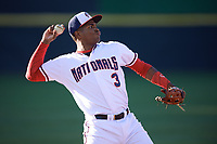 Potomac Nationals third baseman Kelvin Gutierrez (3) throws to first base during the first game of a doubleheader against the Salem Red Sox on May 13, 2017 at G. Richard Pfitzner Stadium in Woodbridge, Virginia.  Potomac defeated Salem 6-0.  (Mike Janes/Four Seam Images)