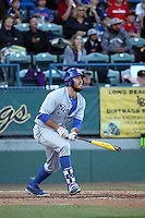 Austin Bush (44) of the UC Santa Barbara Gauchos bats against the Cal State Long Beach Dirtbags at Blair Field on April 1, 2016 in Long Beach, California. UC Santa Barbara defeated Cal State Long Beach, 4-3. (Larry Goren/Four Seam Images)