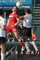 Brittany Bock of the Western New York Flash wins the ball in the air from magicJack's Shannon Boxx. The Western New York Flash defeated the magicJack 3-0 in Women's Professional Soccer (WPS) at Sahlen's Stadium in Rochester, NY on May, 22 2011.