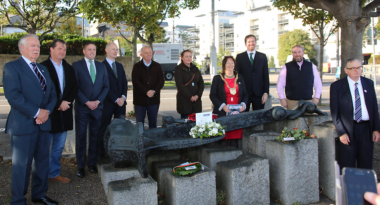 This morning's commemoration of the sinking of the RMS Leinster 103 years ago off Dublin Bay.
