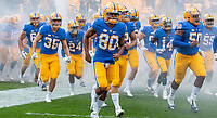 Members of the Pitt football team take the field to play the Syracuse Orange. The Pitt Panthers defeated the Syracuse Orange 44-37 in overtime at Heinz Field in Pittsburgh, Pennsylvania on October 6, 2018.