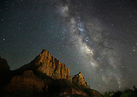 The Milky EWay appears over the Watchman at Zion National Park, Utah