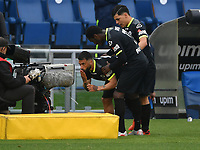 Football, Serie A: S.S. Lazio - Spezia, Olympic stadium, Rome, April 3, 2021. <br /> Spezia's Daniele Verde (l) celebrates after scoring with his teammates  during the Italian Serie A football match between S.S. Lazio and Spezia at Rome's Olympic stadium, Rome, on April 3, 2021.  <br /> UPDATE IMAGES PRESS/Isabella Bonotto