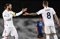 16th March 2021; Madrid, Spain; during the Champions League match, round of 16, between Real Madrid and Atalanta;  Goal celebration from Sergio Ram