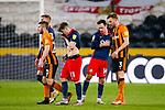 Hull City's Callum Elder and Sunderland's Josh Scowen embrace at full time. Hull 2 Sunderland 2, League One 20th April 2021.