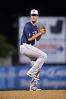 Hagerstown Suns relief pitcher Connor Bach (28) in action against the Kannapolis Intimidators at Kannapolis Intimidators Stadium on May 4, 2016 in Kannapolis, North Carolina.  The Intimidators defeated the Suns 7-4.  (Brian Westerholt/Four Seam Images)