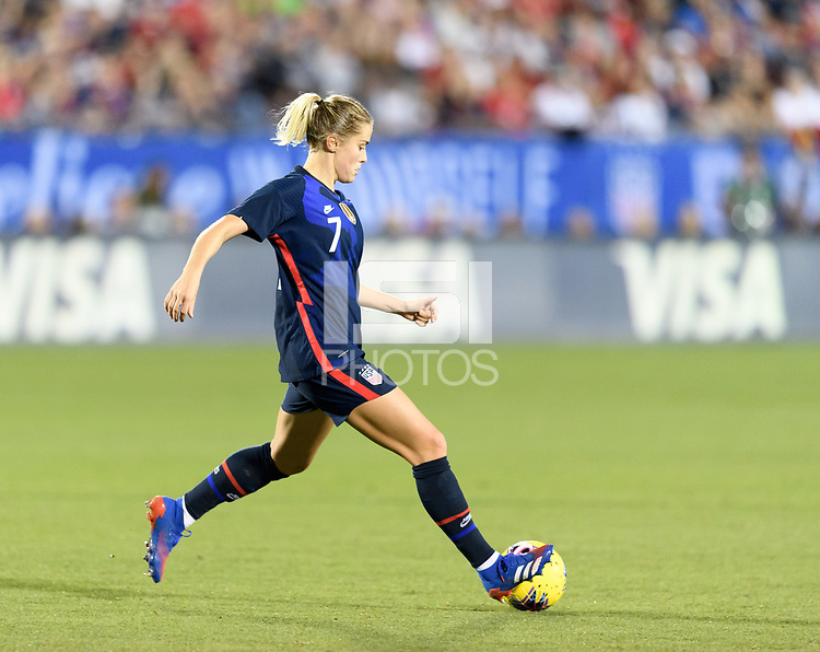 FRISCO, TX - MARCH 11: Abby Dahlkemper #7 of the United States passes the ball in the second half during a game between Japan and USWNT at Toyota Stadium on March 11, 2020 in Frisco, Texas.