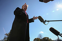 United States President Donald J. Trump walks on the South Lawn of the White House in Washington, DC as he returns from an overnight trip to New York, New York on November 3, 2019.<br />