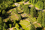 Aerial of the Washington Park International Rose Test Garden, Portland, Oregon