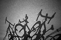 bikes ready for a training ride<br /> <br /> 2015 Paris-Roubaix recon with Team SKY