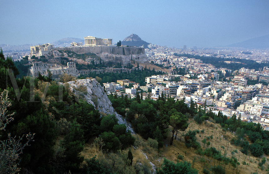 Looking from the Hill of the Muses across a portion of Athens to see the Acropolis with the Parthenon most prominent.