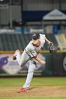 Keith Butler (28) of the Memphis Redbirds delivers a pitch to the plate against the Omaha Storm Chasers in Pacific Coast League action at Werner Park on April 24, 2015 in Papillion, Nebraska.  (Stephen Smith/Four Seam Images)