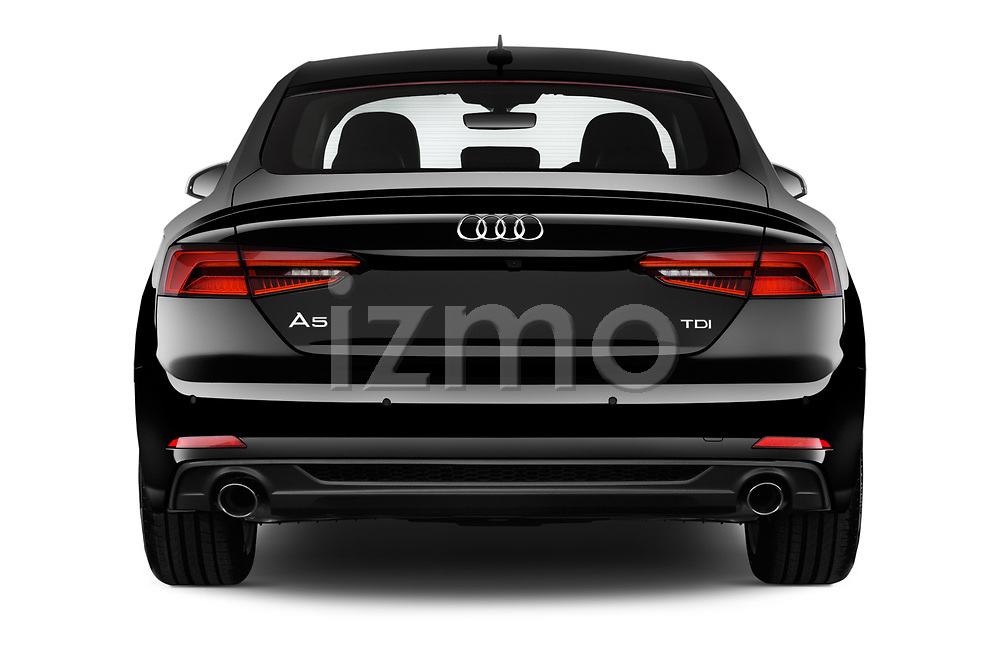 Straight rear view of 2017 Audi A5 Sportback Premium 5 Door Hatchback stock images