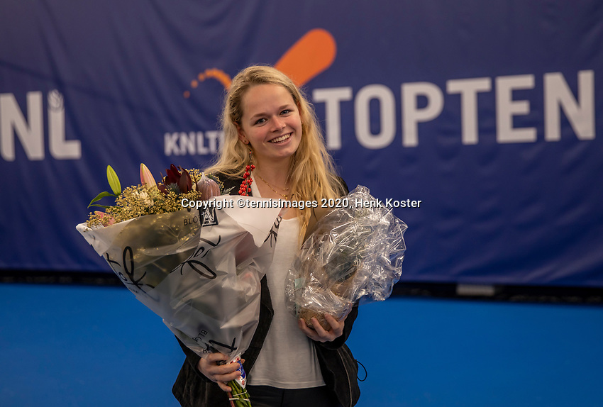 Amstelveen, Netherlands, 12  December, 2020, National Tennis Center, NTC, NKR, National   Indoor Wheelchair Tennis Championships, Women's single Final :   Michaela Spaanstra (NED)<br /> Aniek van Koot (NED)<br /> Photo: Henk Koster/tennisimages.com