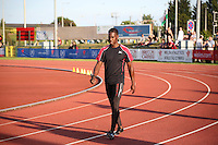 Tuesday 15th July 2014<br /> Pictured: Christian Malcolm <br /> RE: Welsh Sprinter Christian Malcolm walking on the track at Cardiff International Sports Stadium, South Wales, UK.<br /> About to compete in the 4x100m relay, his last race on home soil.