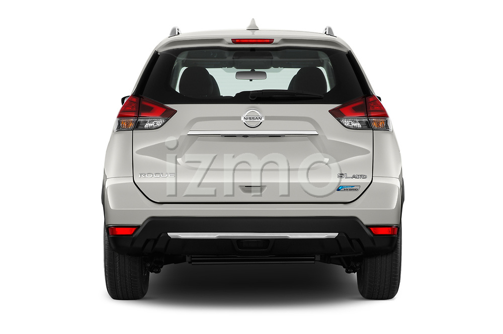 Straight rear view of 2017 Nissan Rogue SL-Hybrid 5 Door SUV Rear View  stock images