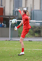 Marie Bougard (10 Woluwe) during the warm up before a female soccer game between FC Femina White Star Woluwe and Sporting Charleroi on the 10 th matchday of the 2020 - 2021 season of Belgian Scooore Womens Super League , Saturday 19 th of December 2020  in Woluwe , Belgium . PHOTO SPORTPIX.BE | SPP | SEVIL OKTEM