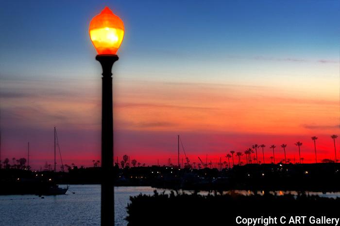 Lamppost on a hot summer's evening, Newport Beach, CA.