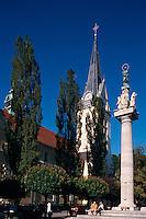 Slowenien. Lubljana, Jakobkirche, Marienstatue am Levstikov Trg