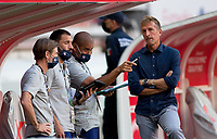 ZAPOPAN, MEXICO - MARCH 21: USA coaches Steve Ralston, Rob Vartughian, C.J. Brown and Jason Kreis during a game between Dominican Republic and USMNT U-23 at Estadio Akron on March 21, 2021 in Zapopan, Mexico.