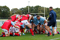 London Scottish working out scrums during the Championship Cup match between London Scottish Football Club and Nottingham Rugby at Richmond Athletic Ground, Richmond, United Kingdom on 28 September 2019. Photo by Carlton Myrie / PRiME Media Images