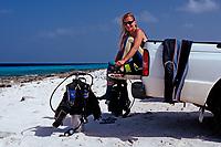 Diver on the rental car, Netherland Antilles, Bonaire, Caribbean Sea, Atlantic