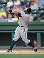 Outfielder Zoilo Almonte (7) of the Charleston RiverDogs, Class A affiliate of the New York Yankees, in a game against the Greenville Drive on May 27, 2010, at Fluor Field at the West End in Greenville, S.C. Photo by: Tom Priddy/Four Seam Images