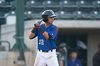 Missoula Osprey shortstop Brandon Leyton (12) at bat during a Pioneer League game against the Orem Owlz at Ogren Park Allegiance Field on August 19, 2018 in Missoula, Montana. The Missoula Osprey defeated the Orem Owlz by a score of 8-0. (Zachary Lucy/Four Seam Images)