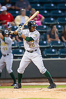 Blake Brown (20) of the Lynchburg Hillcats at bat against the Winston-Salem Dash at BB&T Ballpark on August 13, 2014 in Winston-Salem, North Carolina.  The Hillcats defeated the Dash 4-3.   (Brian Westerholt/Four Seam Images)