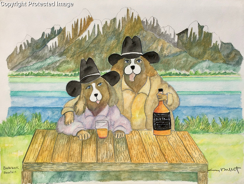 """""""Brokeback Mountain""""<br /> These guys are enjoying their Jack Spaniel!<br /> 12x15 ORIGINAL Watercolor on Paper<br /> $1,950"""