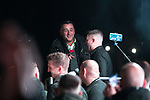 """© Joel Goodman - 07973 332324. 03/11/2017 . Manchester , UK . LUTZ BACHMANN , founder of the PEGIDA movement and TOMMY ROBINSON (real name Stephen Yaxley-Lennon ) speaking to supporters at the launch of the former EDL leader's book """" Mohammed's Koran """" at Castlefield Bowl . Originally planned as a ticket-only event at Bowlers Exhibition Centre , the launch was moved at short notice to a public location in the city . Photo credit : Joel Goodman"""