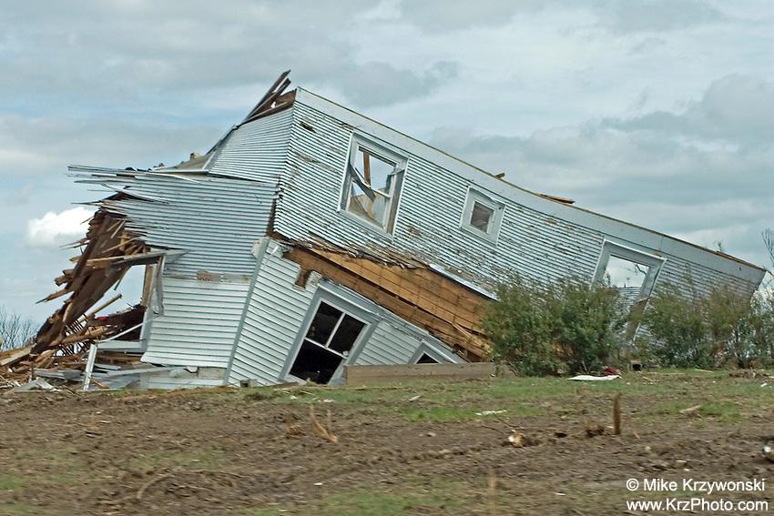 Destroyed house among F5 tornado damage in Greensburg, KS, May, 2007