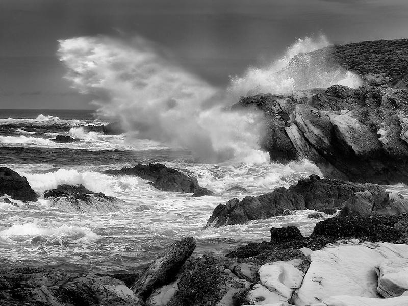Crashing storm waves. Point Lobos State Reserve. California