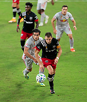 WASHINGTON, DC - SEPTEMBER 12: Frederic Brillant #13 of D.C. United dribbles during a game between New York Red Bulls and D.C. United at Audi Field on September 12, 2020 in Washington, DC.