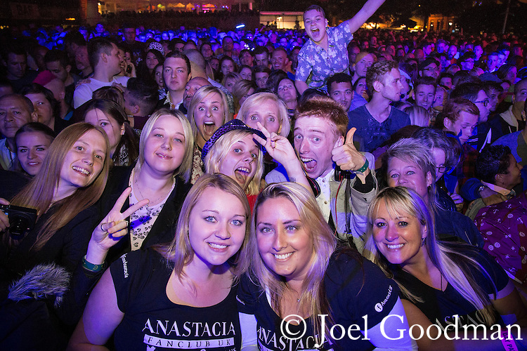 "© Joel Goodman - 07973 332324 . 22/08/2014 .  Manchester , UK . Anastacia fans in front of the main stage in the car park . Manchester Pride "" Big Weekend "" in Manchester's "" Gay Village "" today ( 22nd August 2014 ) . Photo credit : Joel Goodman"