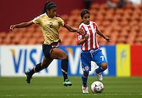 Lexi Harris (USA) and Rebeca Fernandez (PAR)..FIFA U17 Women's World Cup, Paraguay v USA, Waikato Stadium, Hamilton, New Zealand, Sunday 2 November 2008. Photo: Renee McKay/PHOTOSPORT