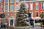 Christmas tree in Market Square, downtown Portsmouth, NH, USA