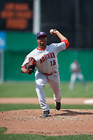 Auburn Doubledays relief pitcher Aaron Fletcher (15) delivers a pitch during a game against the Batavia Muckdogs on September 3, 2018 at Dwyer Stadium in Batavia, New York.  Auburn defeated Batavia 8-5.  (Mike Janes/Four Seam Images)