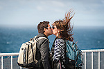 Cook Strait, NEW ZEALAND - January 17: A Couple share a romantic moment on the Interislander Kaitaki.  January 17, 2015 in Cook Strait, New Zealand.  REAL PEOPLE.  (Photo by Elias Rodriguez/ real-people.co.nz)
