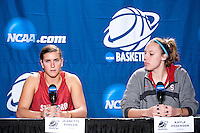 SPOKANE, WA - MARCH 25, 2011: Jeanette Pohlen and Kayla Pedersen at the Stanford Women's Basketball, NCAA West Regionals press conference at Spokane Arena on March 25, 2011.